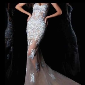 Janique nude illusion mermaid prom pageant dress 6